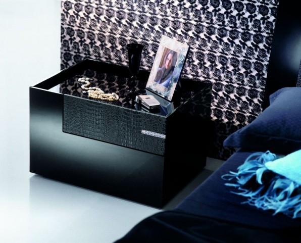 Diamond Black Left 2 Drawer Nightstand