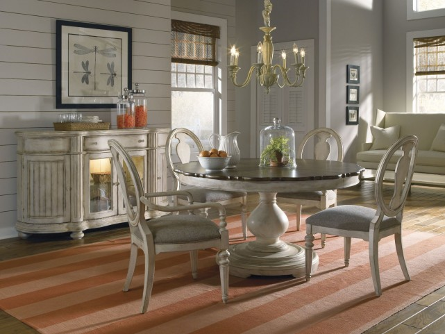 Belmar Antique Linen Round Dining Room Set