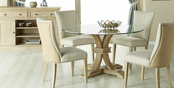 "Devon Stone Wash 54"" Round Dining Room Set with Avery Oatmeal Dining Chairs"