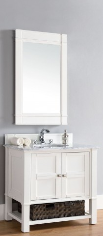 "Madison 36"" Cottage White Single 2CM Top Vanity Set"