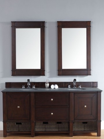 "Madison 72"" Burnished Mahogany Double 2CM Top Vanity Set"