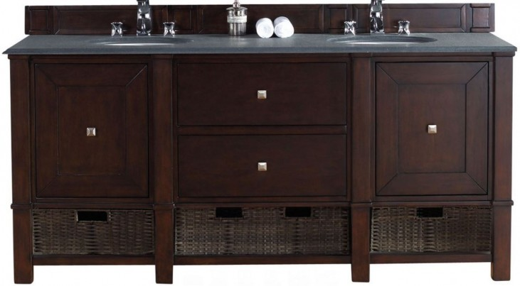 "Madison 72"" Burnished Mahogany Double 2Cm Top Vanity"
