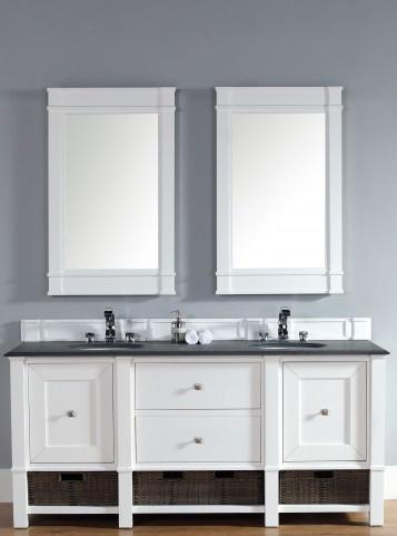 "Madison 72"" Cottage White Double 2CM Top Vanity Set"