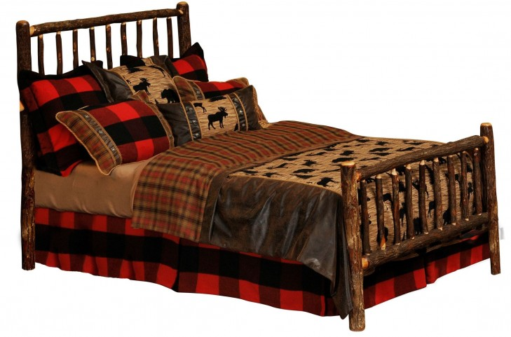 Hickory King Log Bed With Hickory Rails