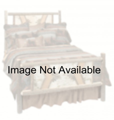 Hickory Queen Size Adirondack Platform Bed with Espresso Rails