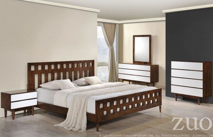 LA Walnut Panel Bedroom Set