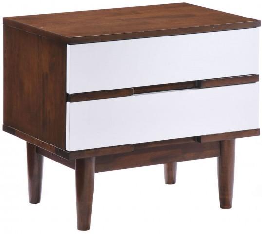 La Walnut & White Nightstand