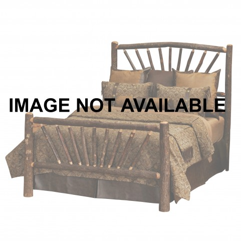 Hickory Twin Sunburst Platform Bed With Rustic Maple Rails