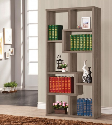 800510 Weathered Grey Bookcase