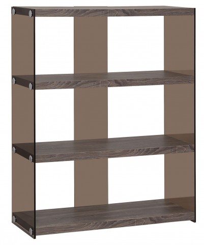 800526 Weathered Grey Side Glass Open Shelves Bookcase