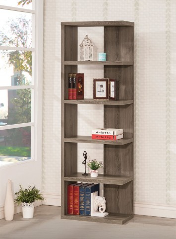 800553 Weathered Grey Right Storage Bookshelf