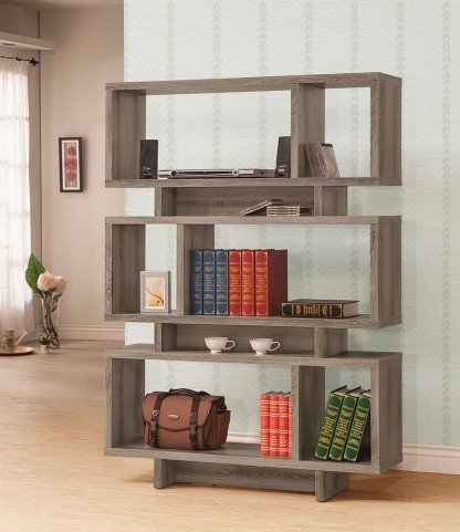 800554 Weathered Grey Wooden Bookshelf