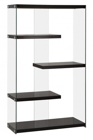 800608 Glossy Black Side Glass Bookcase