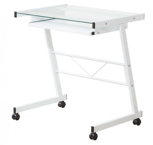 800817 White Mobile Computer Desk