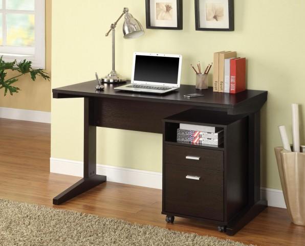 Cappuccino Desk with File Cabinet 800916