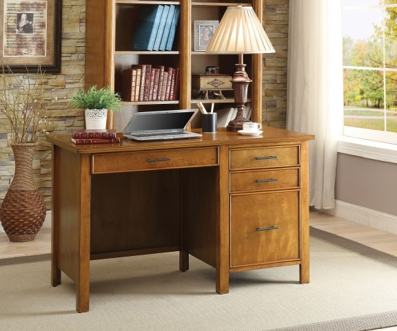 Honey 3 Drawer Writing Desk