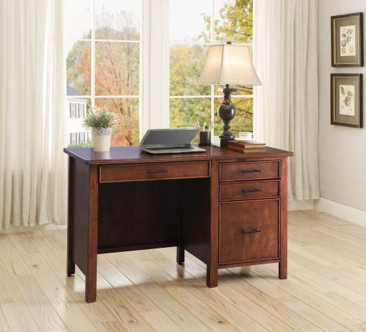 Red Brown 3 Drawer Writing Desk