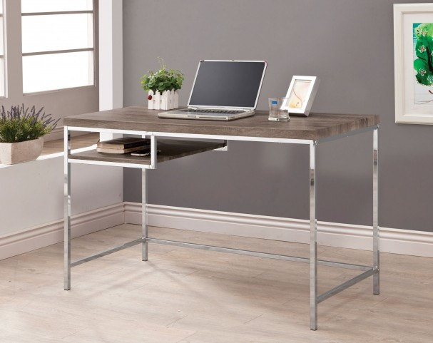 801271 Weathered Grey Left Storage Computer Desk
