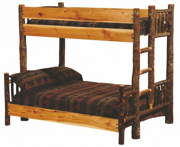 Hickory Ladder Left Full Over Twin Bunk Bed With Hickory Rails