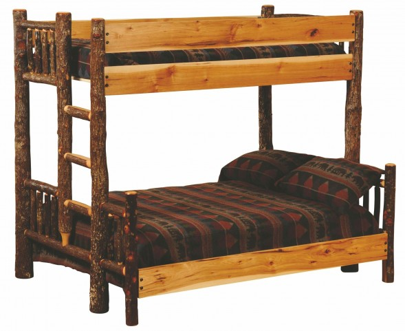 Hickory Ladder Right Twin Over Twin Bunk Bed With Hickory Rails