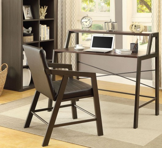 Chestnut and Gunmetal Home Office Set