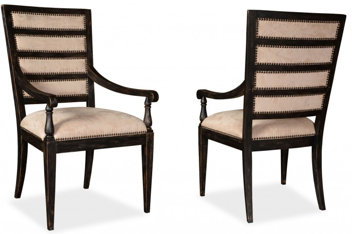 The Foundry Cafe York Paint Black Upholstered Arm Chair Set of 2
