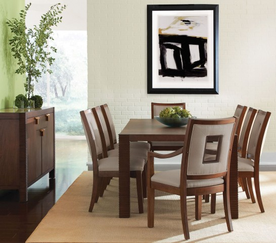 Well Mannered Urbane Brown Large Dining Room Set