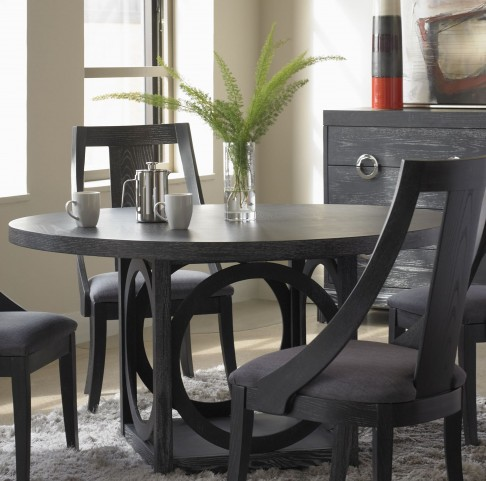 Nocturne Midnight Black Nocturne Round Dining Table