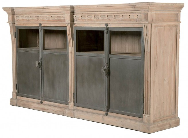 Bella Antique Smoke Gray Grecian Sideboard