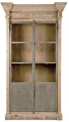 Bella Antique Smoke Gray Grecian Display Cabinet