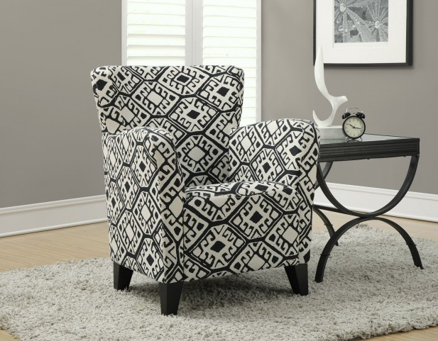Black/Beige Abstract Fabric Club Chair