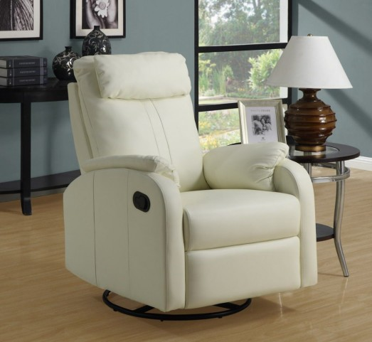 Ivory padded Swivel Rocker Recliner