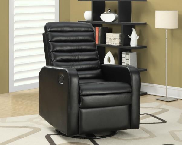 Black Bonded Leather Swivel Glider Recliner