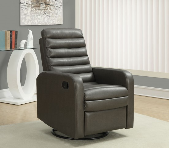 Charcoal Gray Swivel Glider Recliner 8086GY
