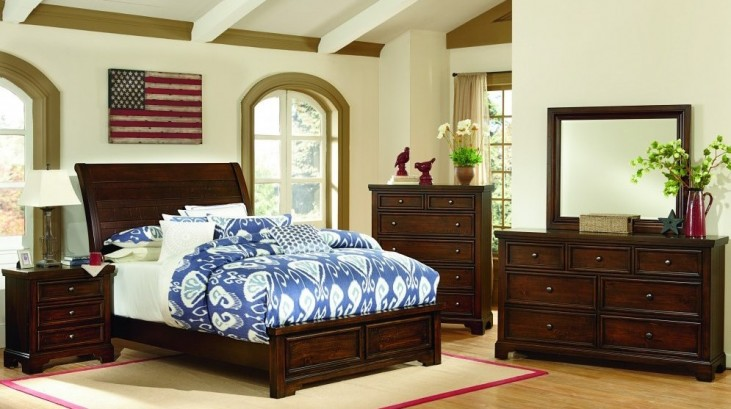 Hanover Dark Cherry Sleigh Low Profile Bedroom Set