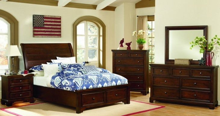 Hanover Dark Cherry Sleigh Storage Bedroom Set