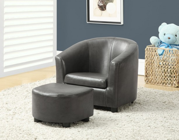 Charcoal gray Juvenile Chair with Ottoman