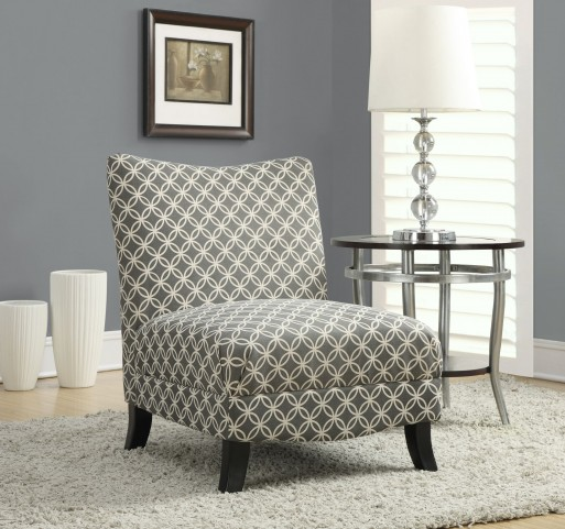 gray Circular Fabric Accent Chair