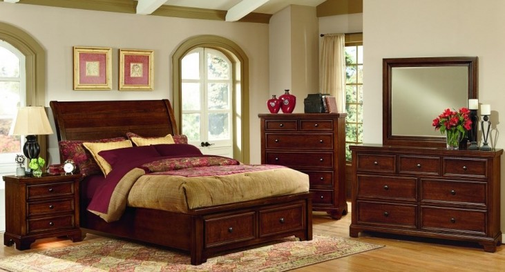 Hanover Cherry Youth Sleigh Storage Bedroom Set