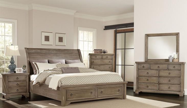 Whiskey Barrel Rustic Gray Sleigh Storage Bedroom Set