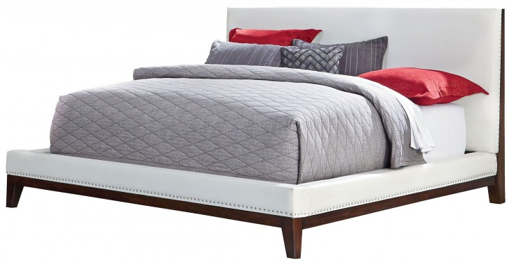 Couture White Queen Upholstered Platform Bed