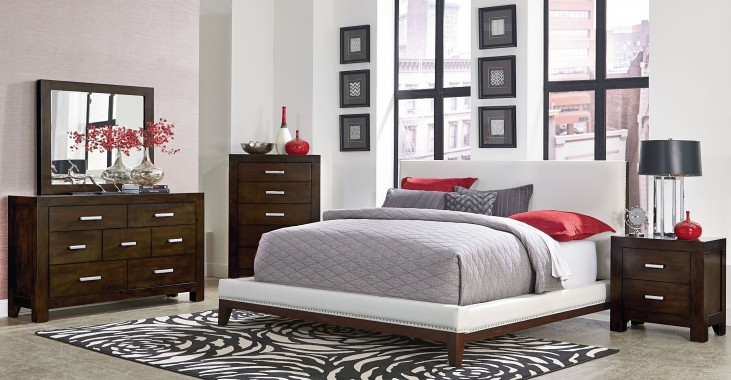 Couture White Upholstered Platform Bedroom Set
