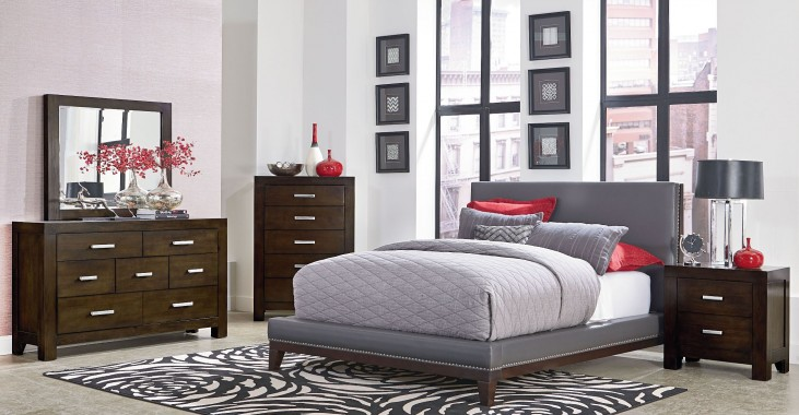 Couture Grey Upholstered Platform Bedroom Set