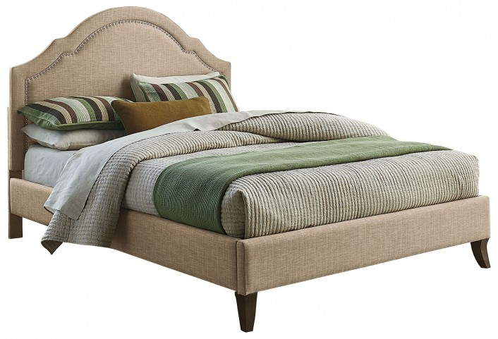 Simplicity Linen Cathedral King Upholstered Bed
