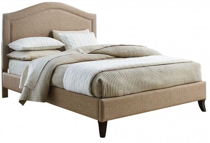 Simplicity Linen Camel King Upholstered Bed