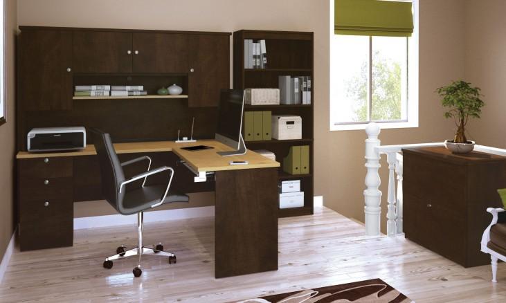Manhattan Secret Maple & Chocolate L-Shaped Workstation Set