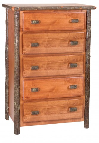 Hickory Rustic Alder Premium Five Drawer Chest