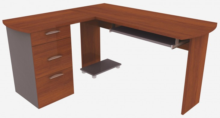 Capri Cognac Cherry L-Shaped Desk