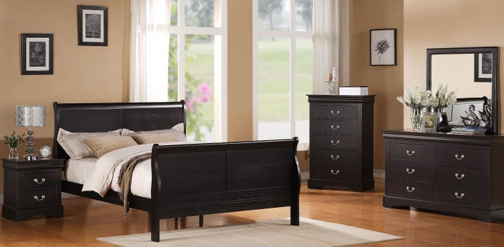 Lewiston Black Sleigh Bedroom Set