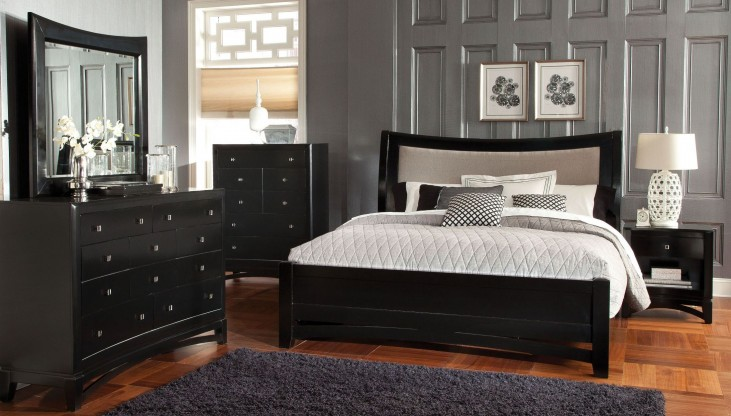 Memphis Black Upholstered Sleigh Bedroom Set